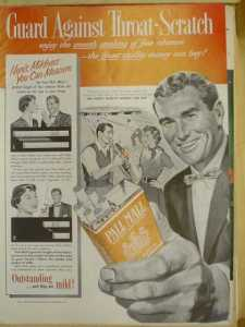Pall Mall Cigarettes. Guard against throat scratch (1953)